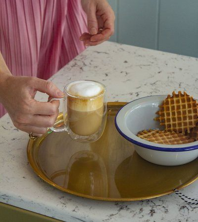 A Cappuccino And Waffles