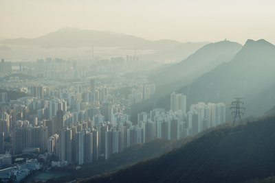 A Misty View Over A Suburb In Hong Kong SAR China