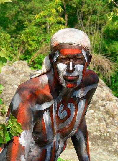 A Naked Man with Bodypainting
