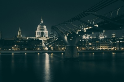 A View of St. Paul's Cathedral And the Millennium Bridge in