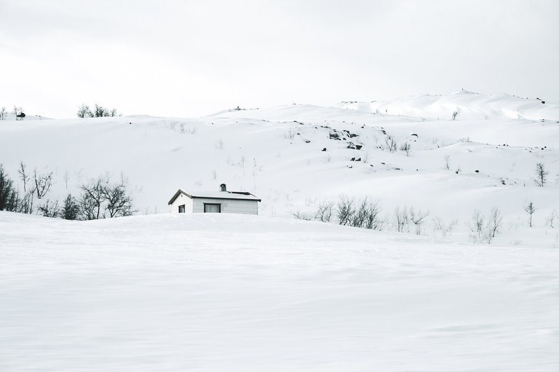 A White Wood Hut Camouflaged In Snow