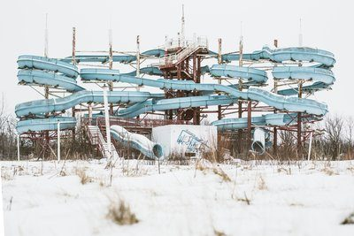 Abandoned Waterpark In Winter