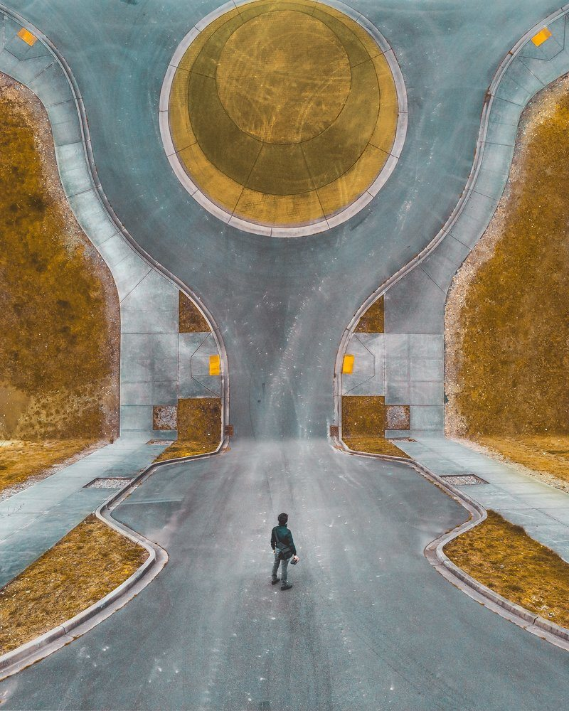 Abstract Image Of Man Standing In Road