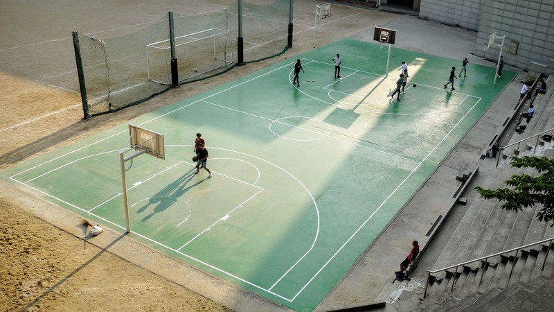 Aerial  People At Basketball Court