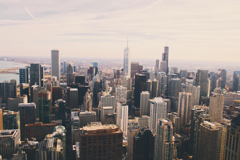 Aerial View of City with Skyscrapers