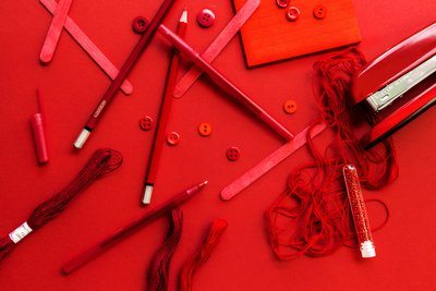 Art Supplies In Red