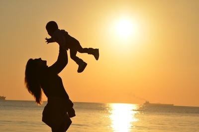 Baby & Mother at Beach