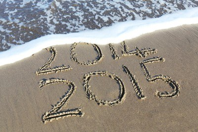Beach Shore Etch with 2014 And 2015 Texts