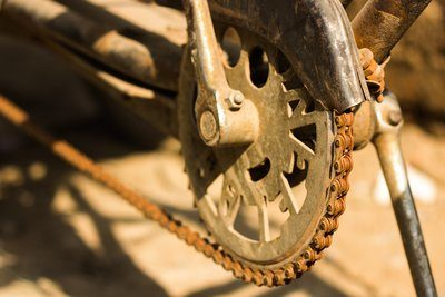 Bicycle Chain Rusted And Covered In Dirt