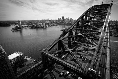 Black And White Bridge Over City