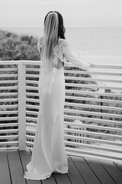 Black And White Image Of A Bride