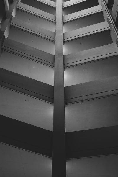 Black And White Portrait Image Of Parking Structure