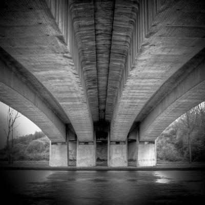 Black And White Under Bridge Over River