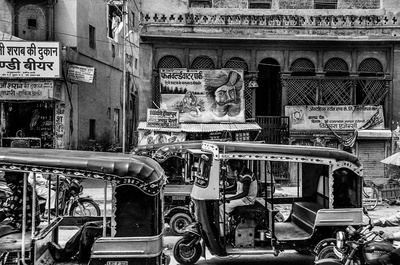 Black & White Auto Rickshaw And People