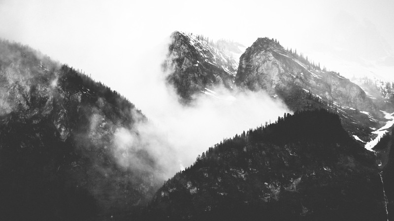 Black & White  Mountain Covered with Trees And Clouds