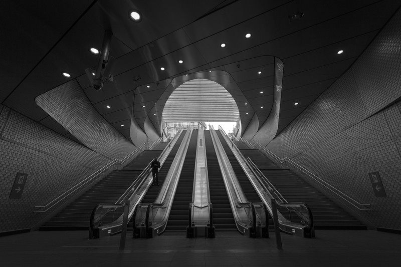 Black & White Photography of Person on Escalator
