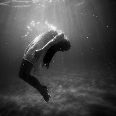 Black & White  Woman Drowning in Water