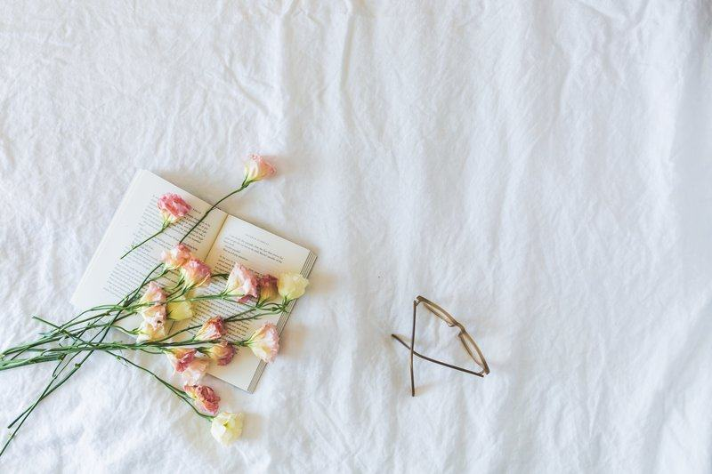 Book, Flowers & Glasses Flatlay