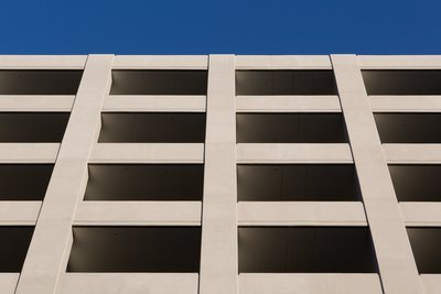 Bright Parking Structure Under Clear Blue Sky