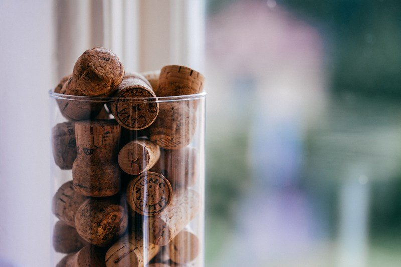 Brown Cork Lot on Glass Container