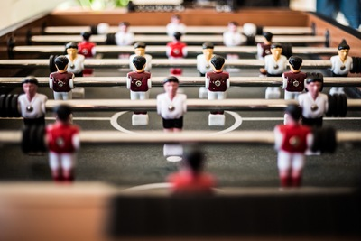 Brown Foosball Table Closeup