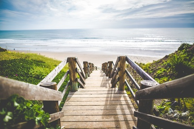 Brown Wooden Walkway Near Beach