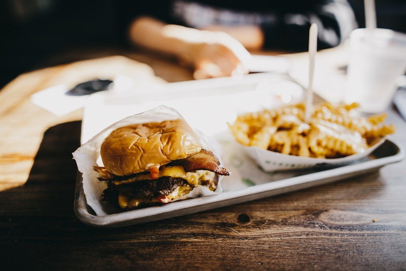 Burger And Fries Served on Tray