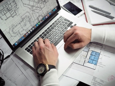Business Laptop & Wireframes