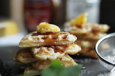 Buttered Waffles With Powdered Sugar