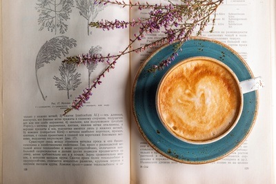 Cappuccino Coffee & Vintage Book