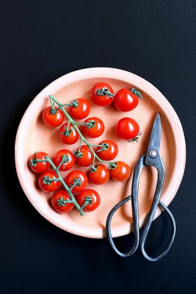 Cherry Tomatoes Plated With Kitchen Scissors