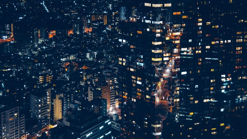 City Buildings at Nighttime