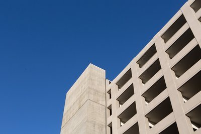 Clear Blue Sky Over Parking Structure