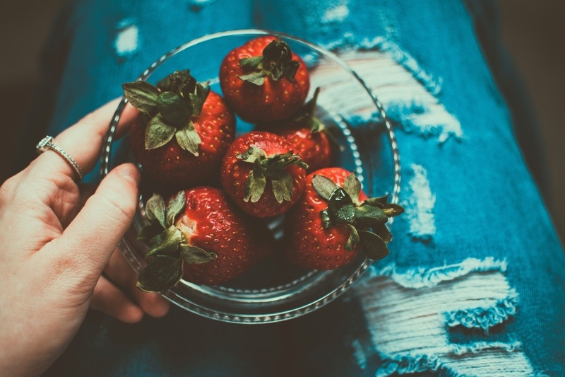 Clear Bowl of Strawberries