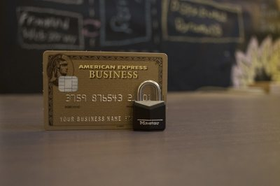 Closeup  American Express Business Card on Brown Surface