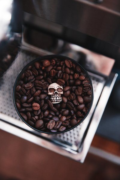 Coffee Beans With Skull