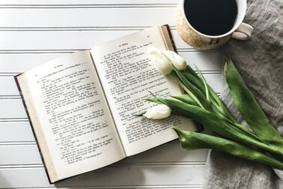 Coffee, Flowers and Open Book
