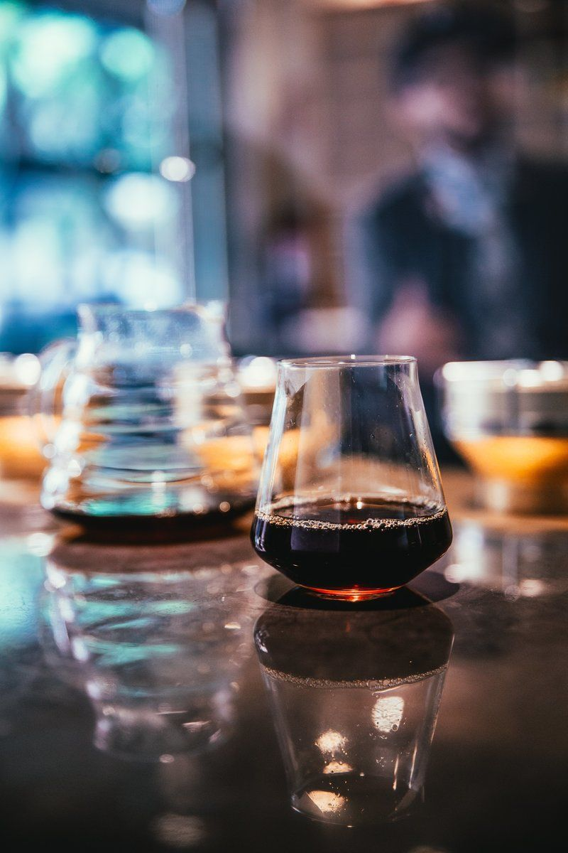 Coffee Process With Glassware At Cafe