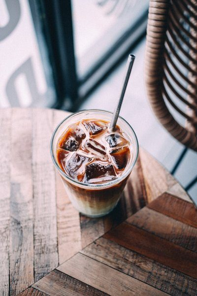 Coffee Shop Table With Iced Latte