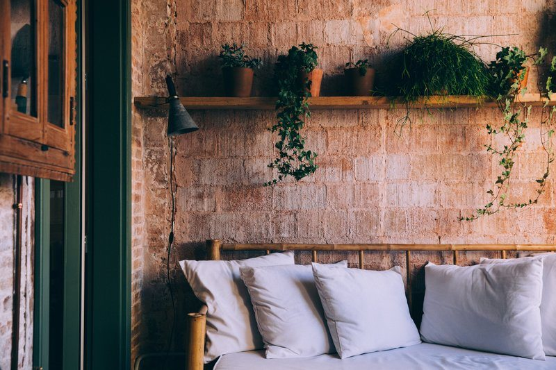Couch By Interior Brick Wall
