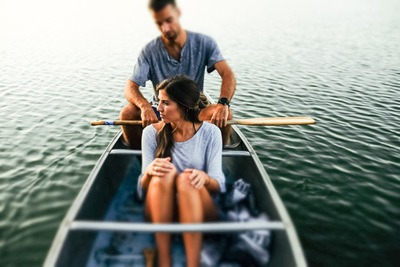 Couple in Canoe Boat