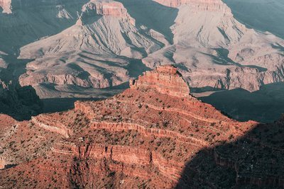 Crumbling Red Peaks Of Grand Canyon