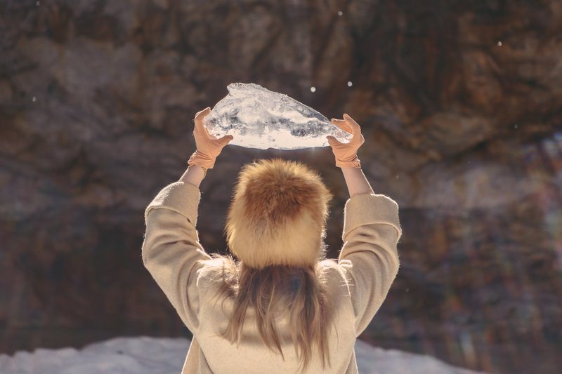 Crystal Clear Ice In hand