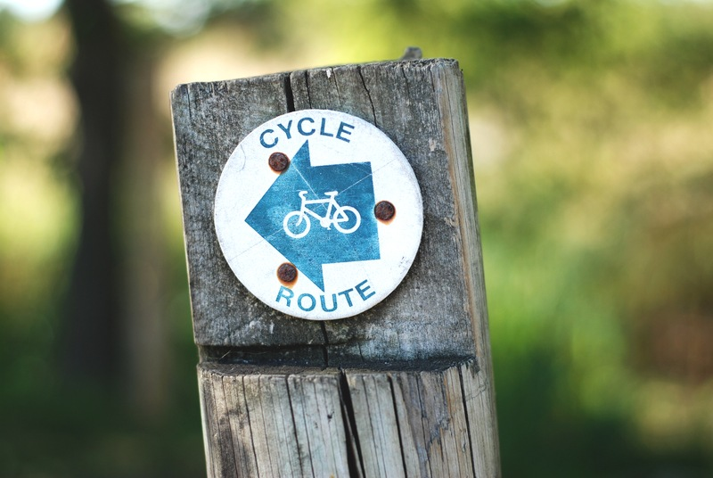 Cycle Route Sign on A Wooden Post