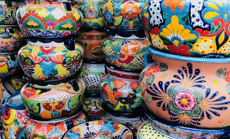 Decorated Pots Stacked Up