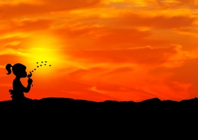 Girl with flower silhouette
