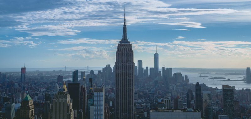 Empire State Building With Clouds In Distance
