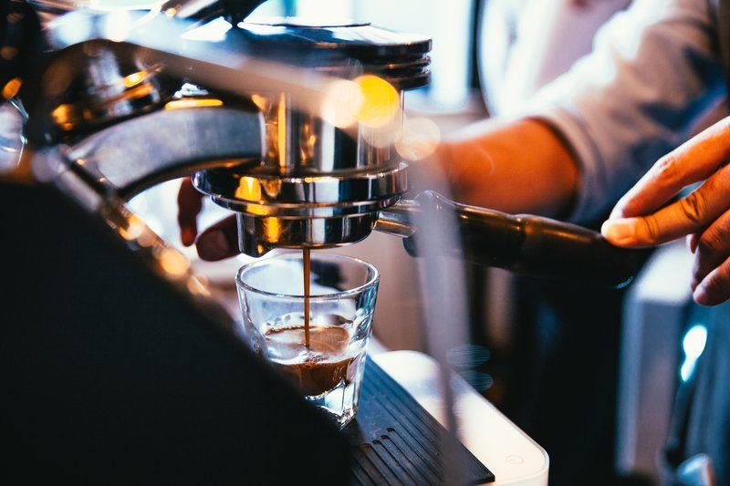 Espresso Machine Pours Out Hot And Fresh Shot