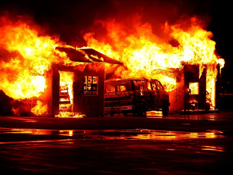Flaming House And Vehicle