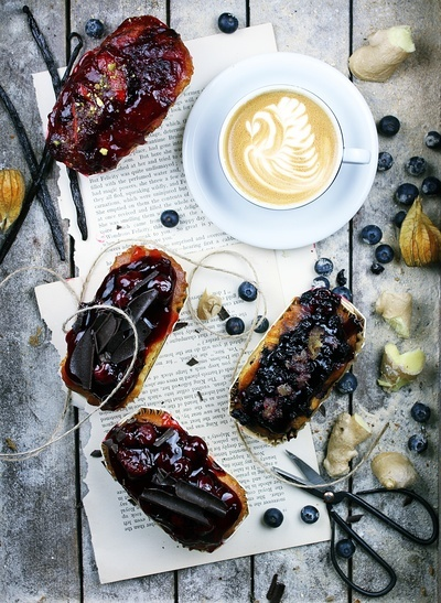 Fruit Cakes, Cappuccino And Blueberries on Gray Wooden Panel